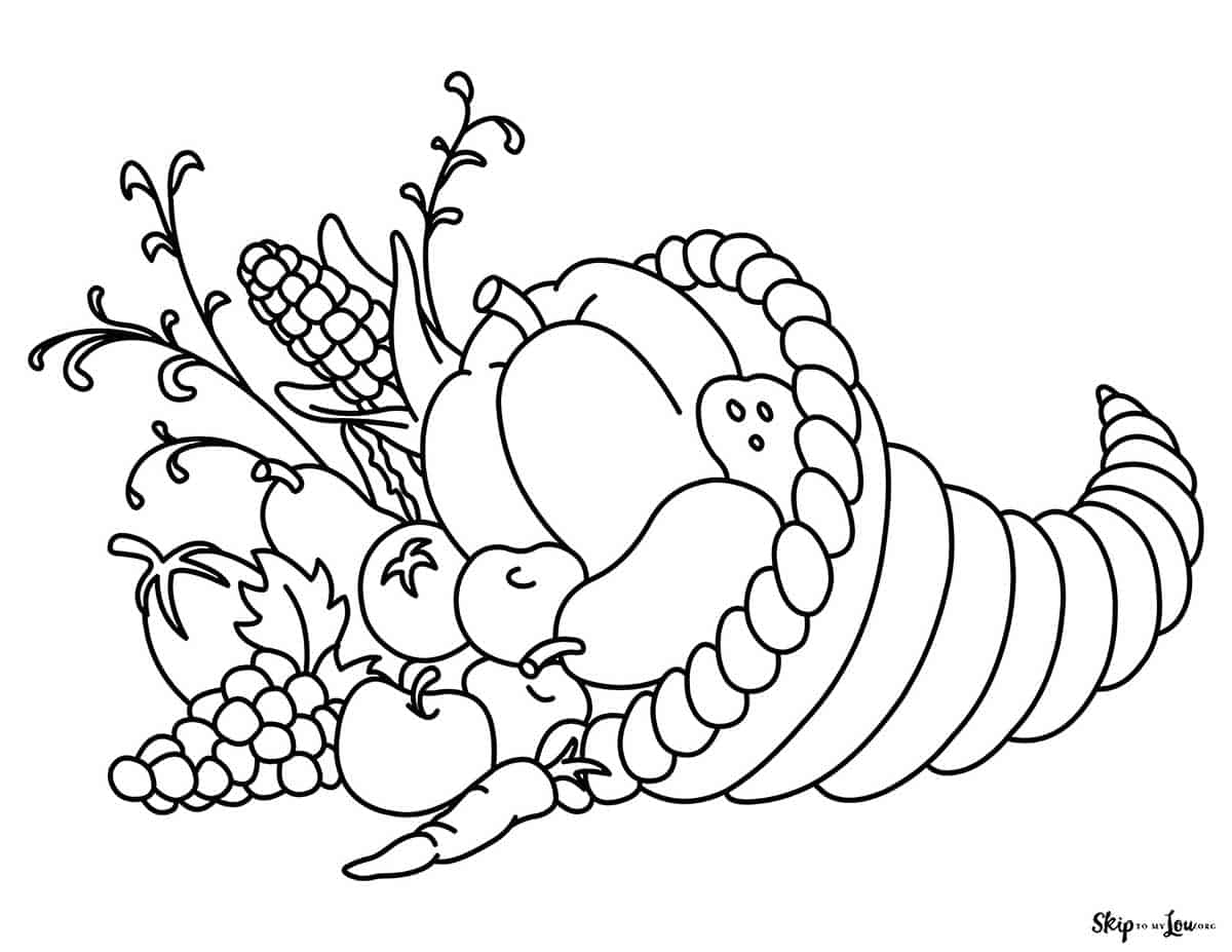 horn of plenty coloring sheet