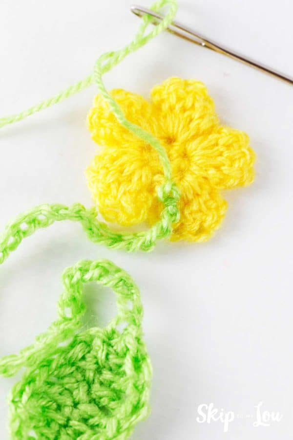 stitch crochet leaf and stem to flower