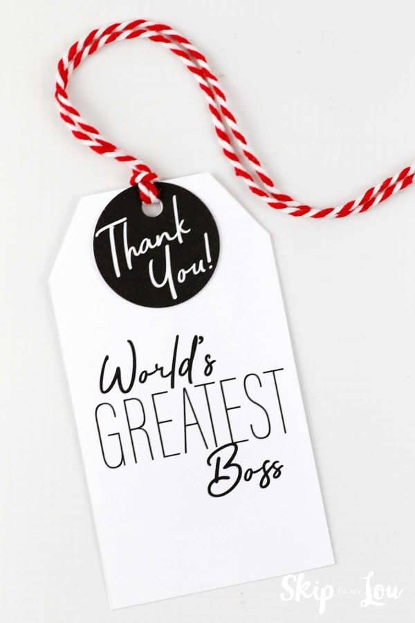 worlds greatest boss gift tag with bakers twine