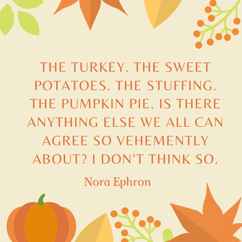 The turkey. The sweet potatoes. The stuffing. The pumpkin pie. Is there anything else we all can agree so vehemently about? I don't think so.Nora Ephron