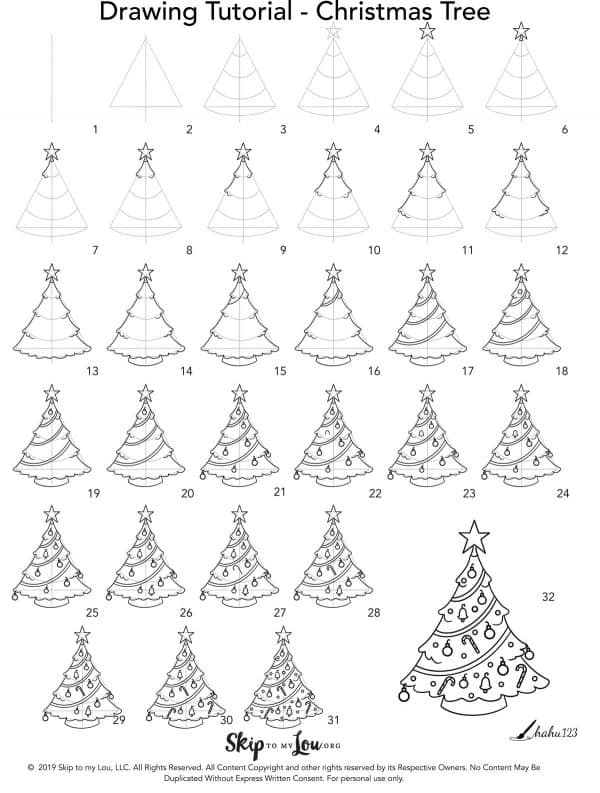 step by step how to draw a Christmas tree
