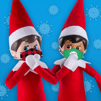 Two Scout Elves wearing face masks