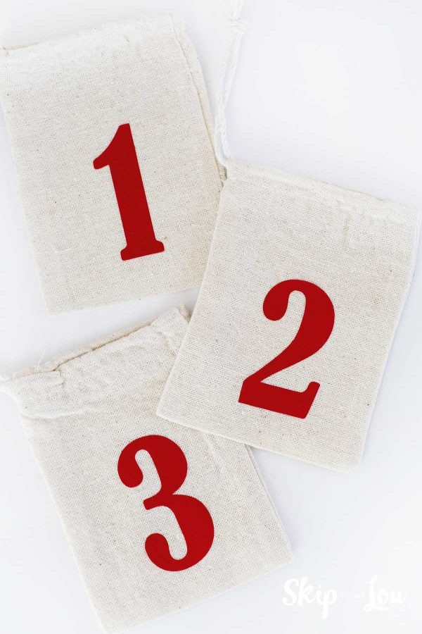 three numbered muslin bags for advent calendar