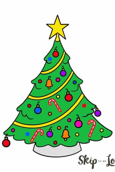 colored easy christmas tree drawing