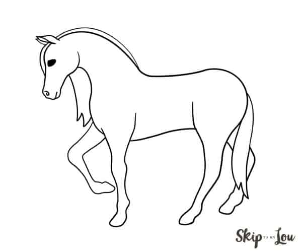 easy horse drawing black and white