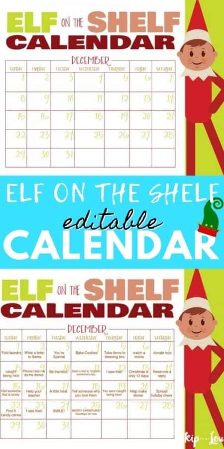 elf on the shelf calendar PIN
