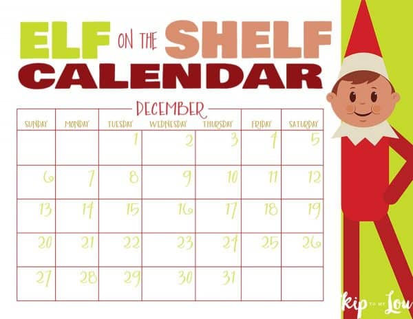 Elf on The Shelf Calendar 2020