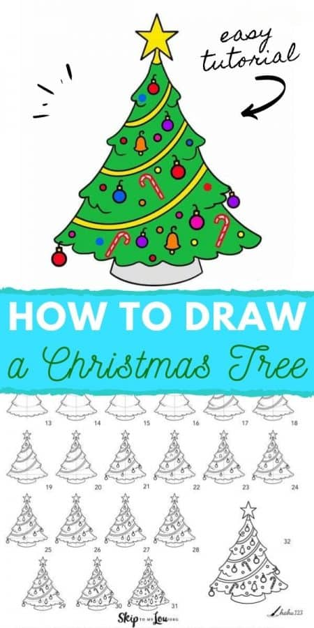 how to draw a christmas tree PIN