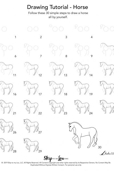 step by step instructions to draw a horse
