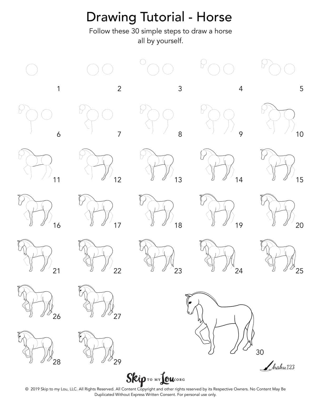 How To Draw A Horse Step By Step With Printable Guide Skip To My Lou