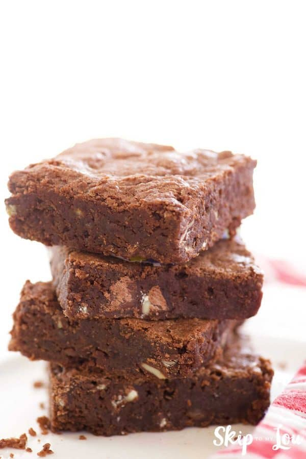 andes mint brownies stacked on a white plate