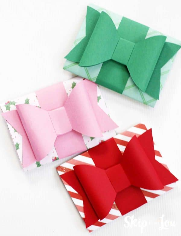 paper gift card holders green pink red bows