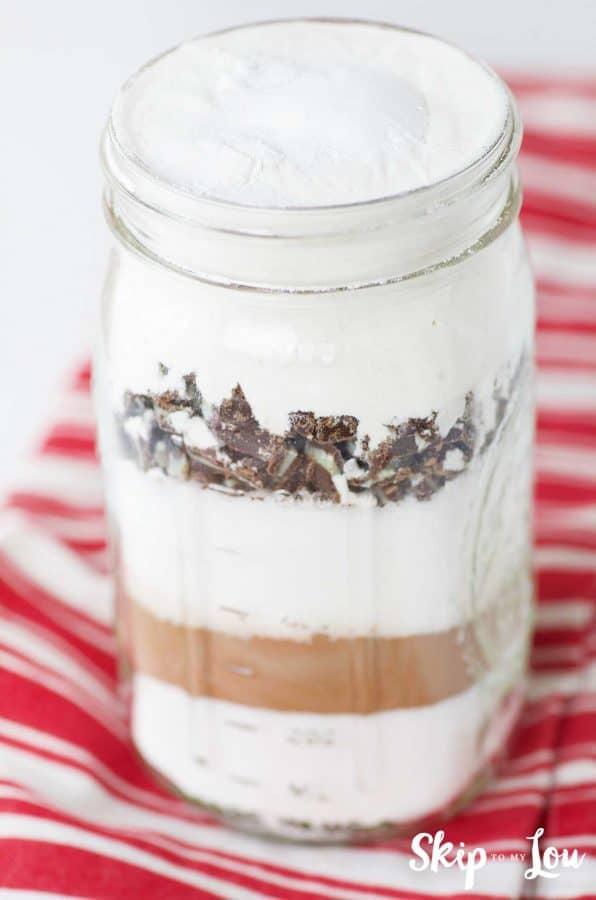 peppermint brownie ingredients layered in jar