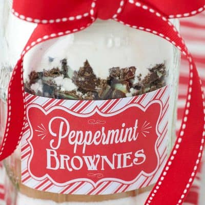 peppermint brownie mix in a mason jar