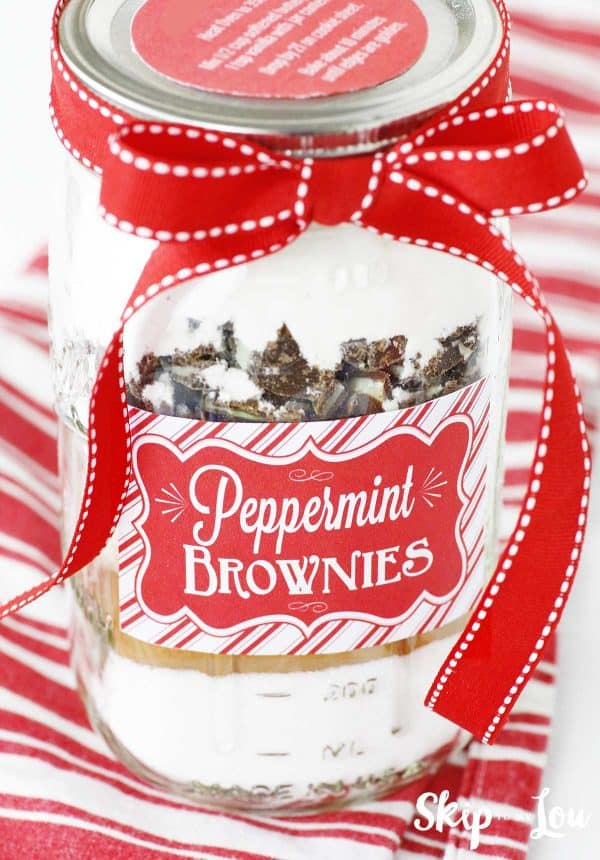 jar red bow stripe label peppermint brownies