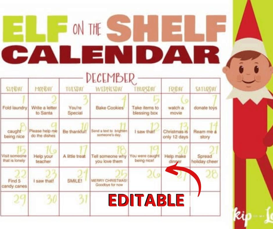 FREE Printable Elf on the Shelf Calendar {EDITABLE} | Skip