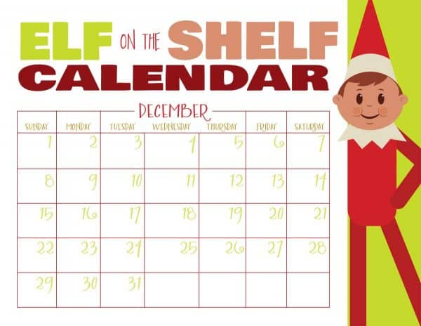 printable elf on the shelf calendar blank