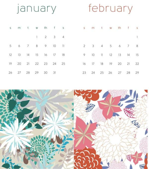 2020 printable calendar january february leap year