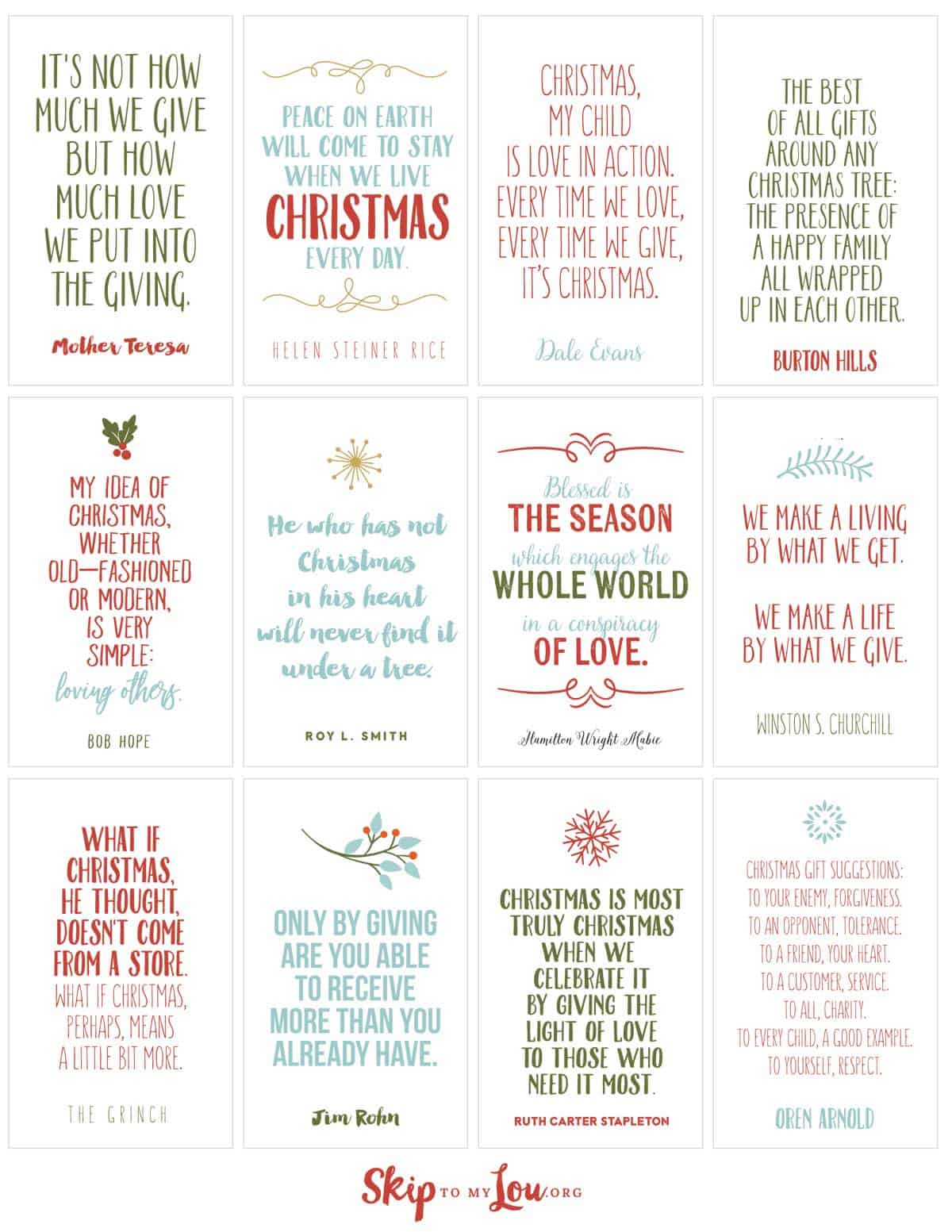 christmas quotes printable cards