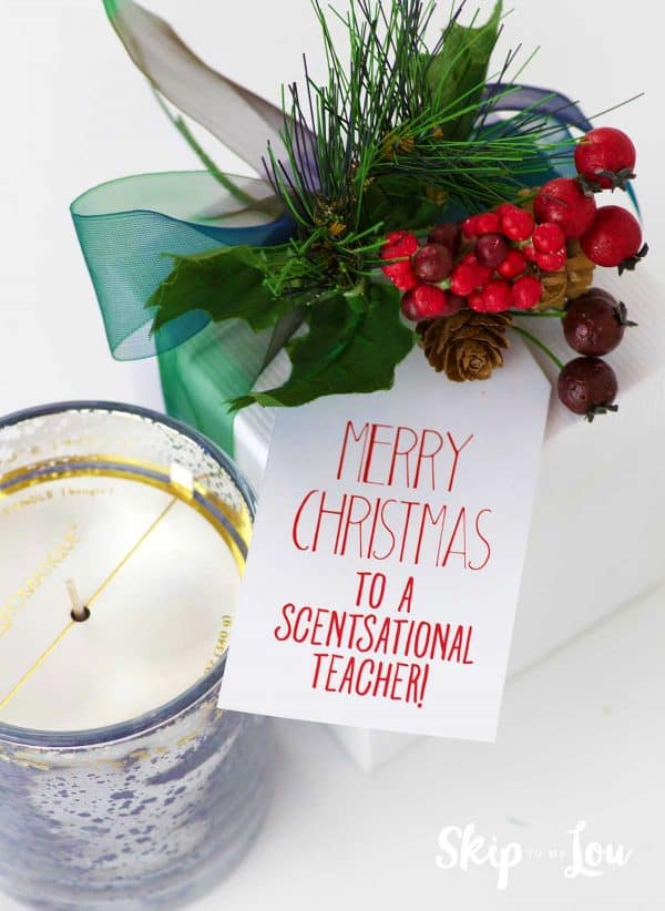 candle with gift tag scentsational teacher