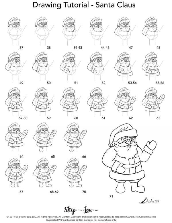 how to draw santa clause step by step instructions