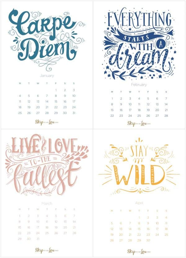 2021 calendar four months one page