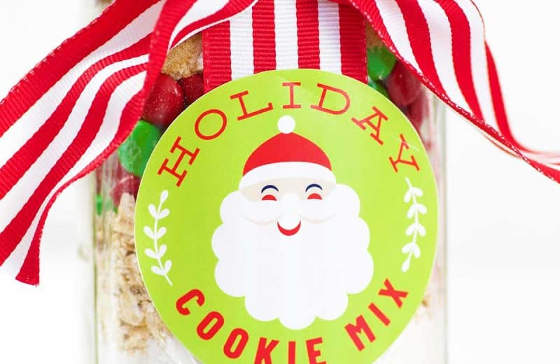 cookie mix in jar with santa label striped ribbon