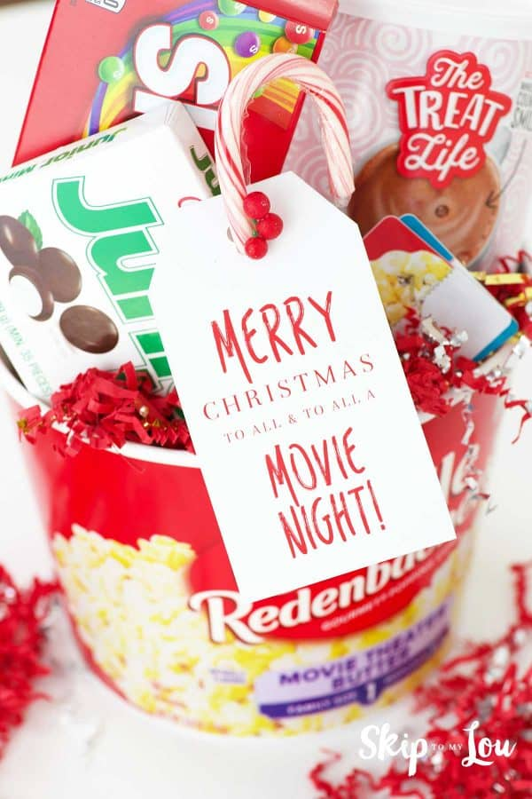popcorn bucket filled with candy hot chocolate for movie night gift