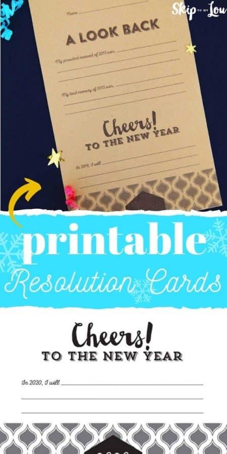 printable resolution cards PIN
