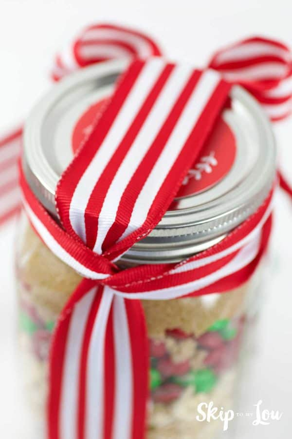 ribbon tied on holiday cookie mix in jar