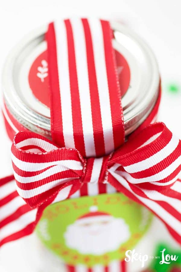wrapped up holiday cookie in a jar