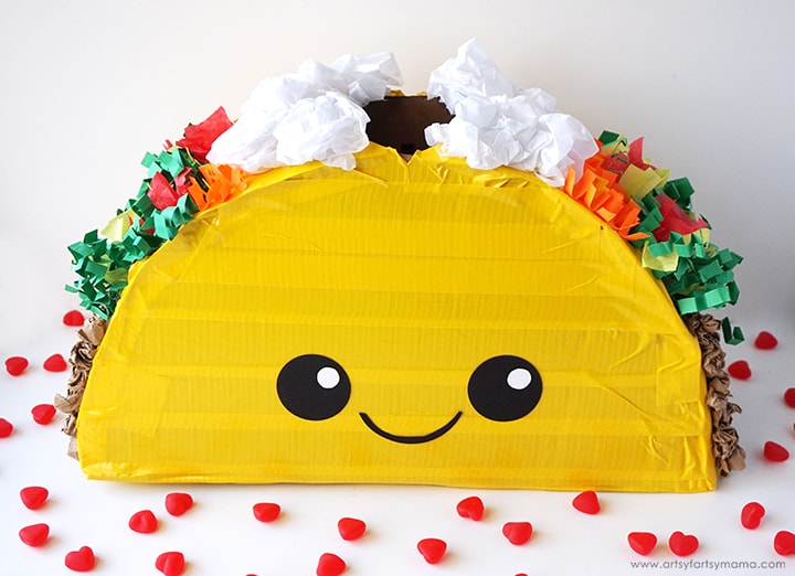 box made to look like taco for collecting valentines