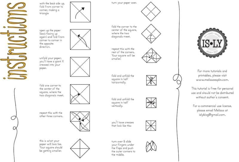 fortune teller instructions