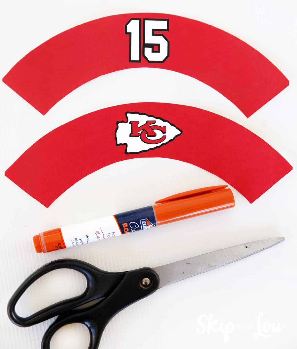 free printable chiefs cupcake wrappers scissors glue