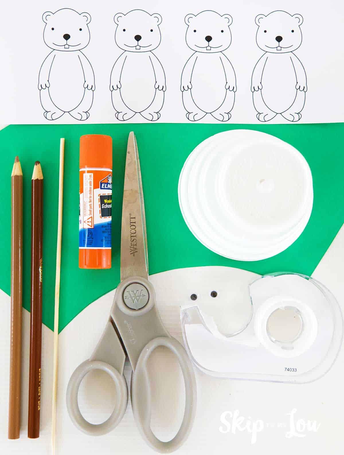 supplies scissors glue sticks colored pencils scissors tape printable groundhogs foam cup