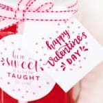 teacher gift with happy valentines day label