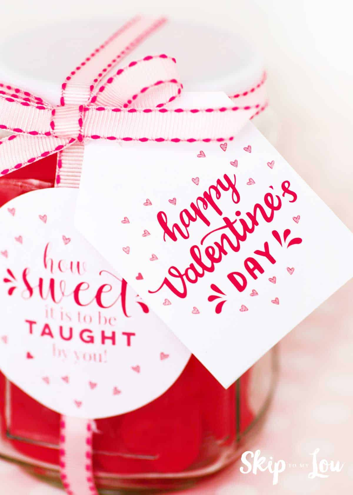 teacher gift with happy valentines day label and how sweet it is to be taught by you label.