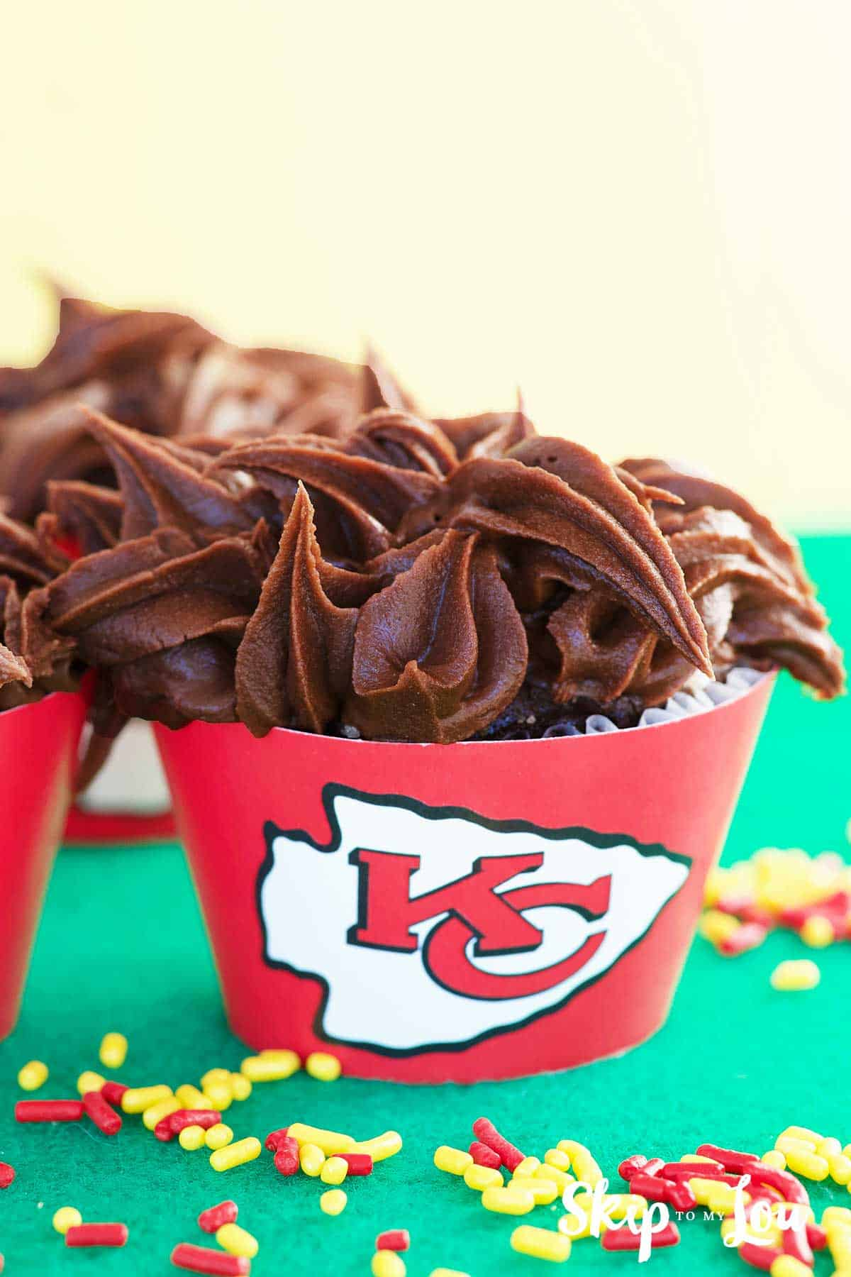 cupcake with kansas city chiefs cupcake wrapper