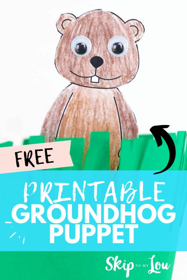 printable groundhog puppet PIN