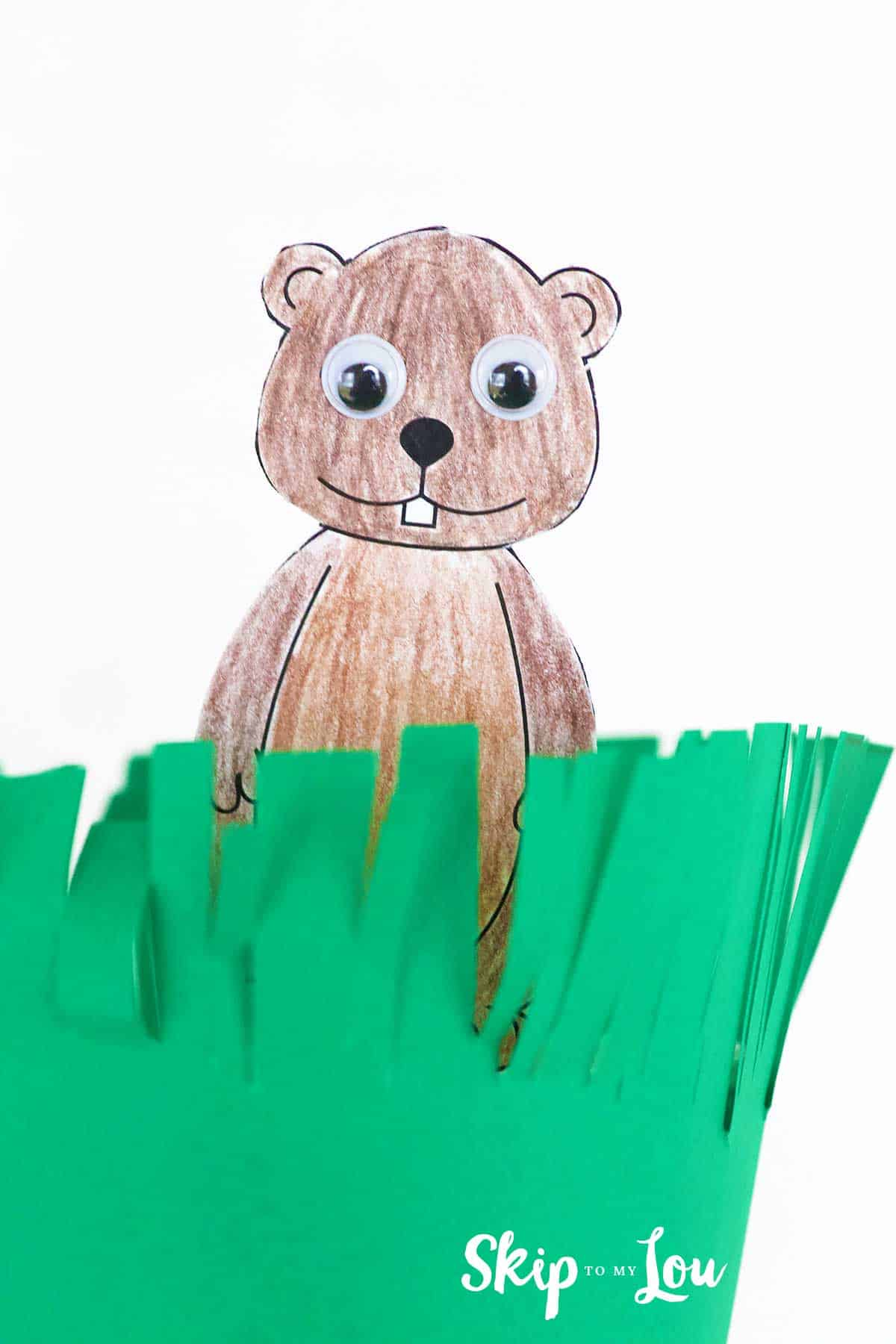printable groundhog peeking out of a cup covered in green paper