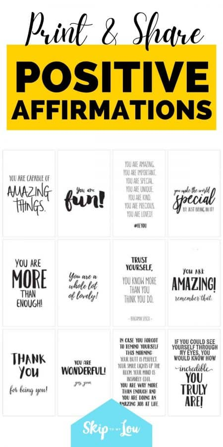 printable positive affirmations PIN
