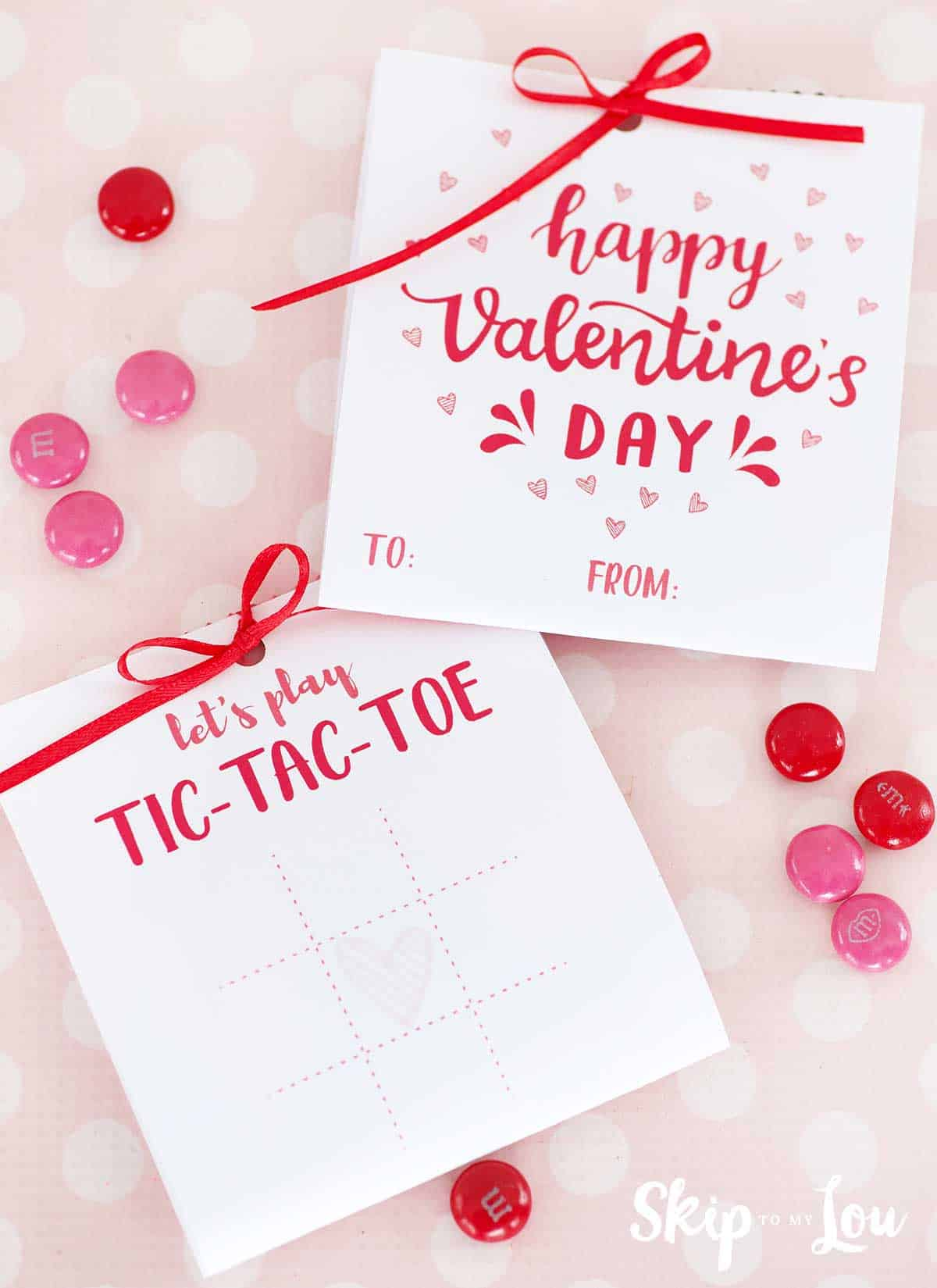 printable tic tac toe Valentine with m&ms