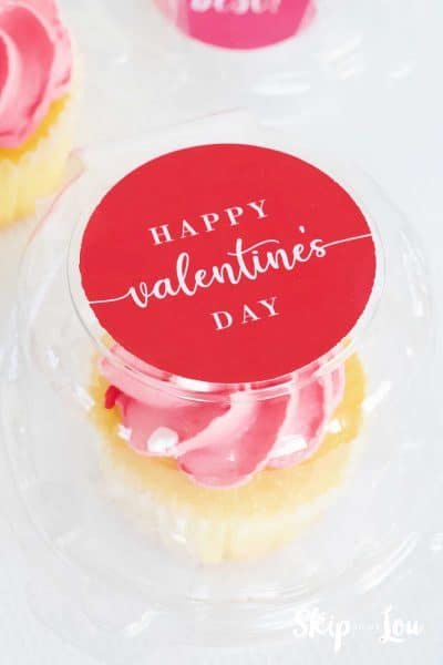 pink frosted cupcake in plastic cupcake container Happy Valentines Day sticker on top