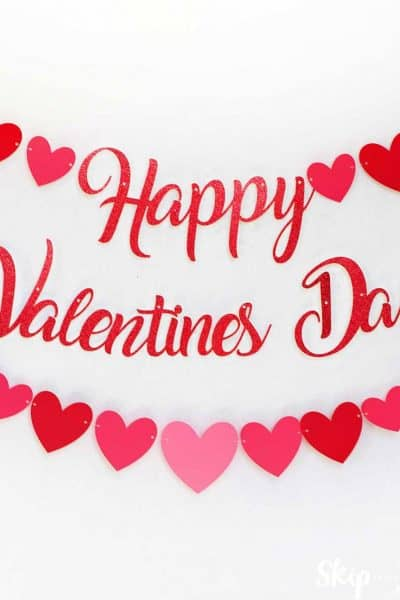 Happy Valentine's Day Banner Script with hearts white wall