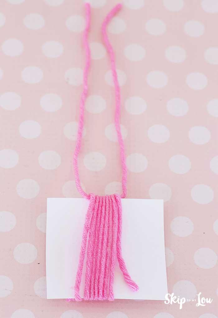 yarn at top of yarn wrapped card