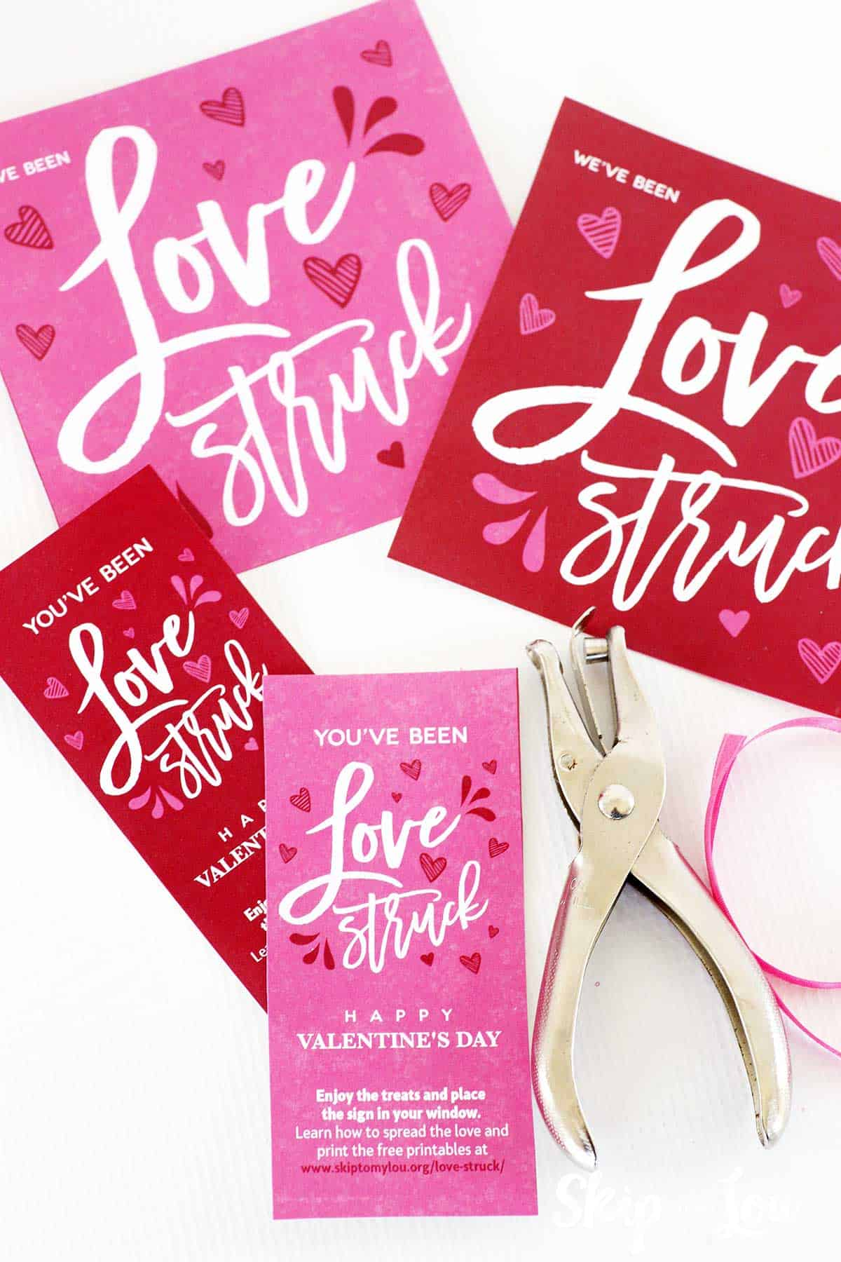 love struck printables ribbon hole punch