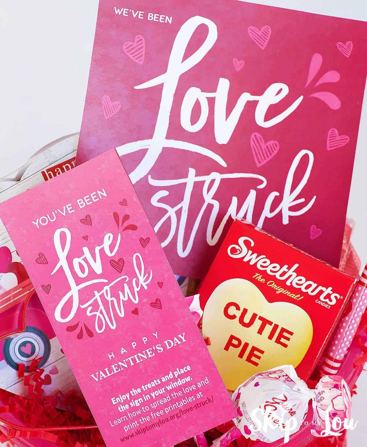 basket of Valentine treats love struck gift tag