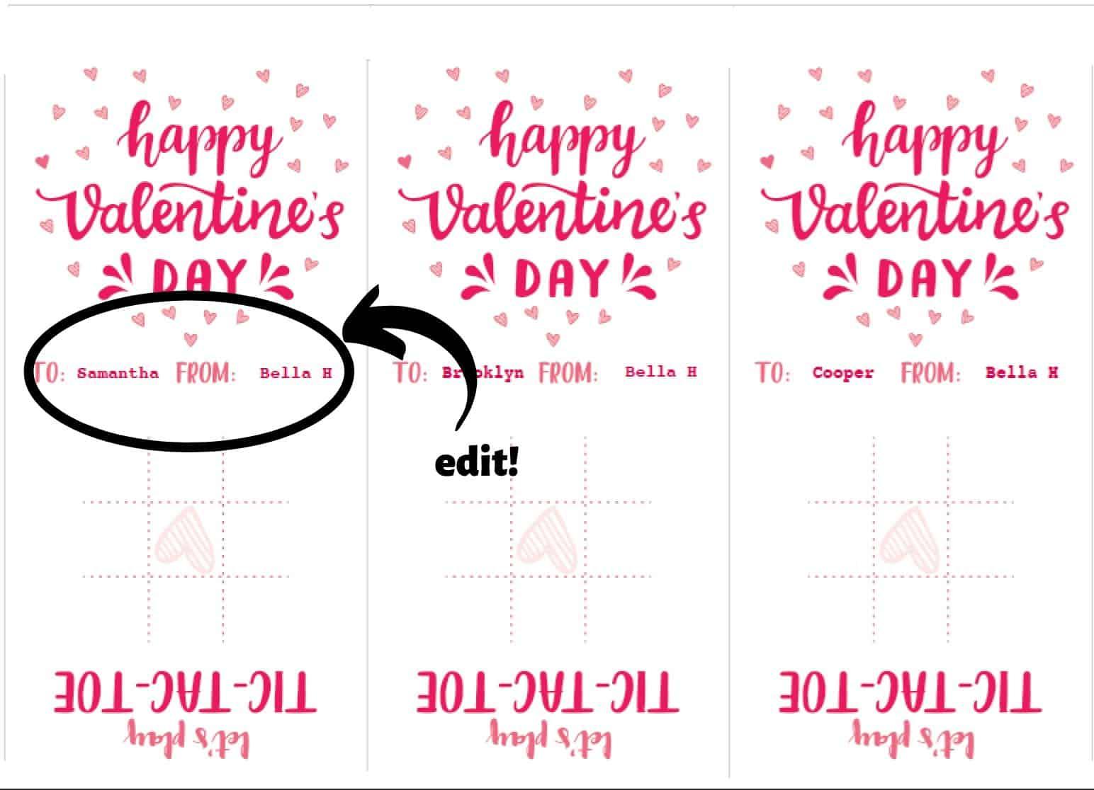 personalized tic tac toe Valentine