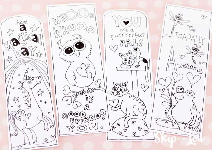four printable bookmarks to color