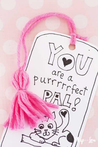 printable coloring bookmark with pink yarn tassle